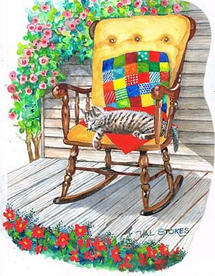 Verandah Painting - Happy Cat by Val Stokes