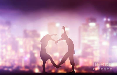 Couples Photograph - Happy Couple In Love Making Heart Shape by Michal Bednarek