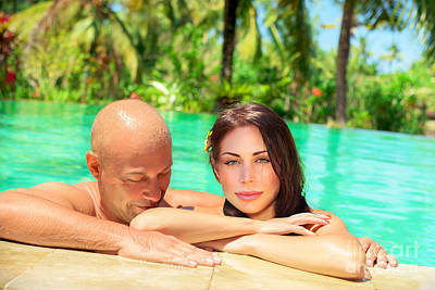 Photograph - Happy Couple On Tropical Resort by Anna Om