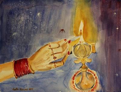 Diwali Painting - Happy Diwali by Geeta Biswas