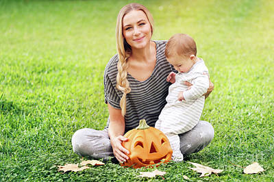 Photograph - Happy Family Celebrating Halloween  by Anna Om
