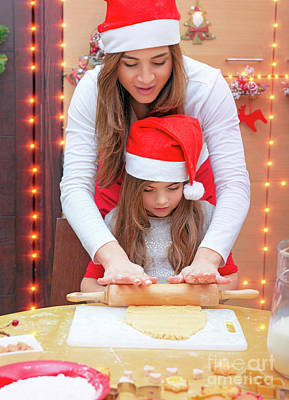 Photograph - Happy Family Making Christmas Cookies by Anna Om