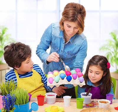 Photograph - Happy Family Paint Easter Eggs by Anna Om