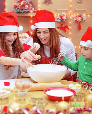 Photograph - Happy Family Preparing For Christmas by Anna Om