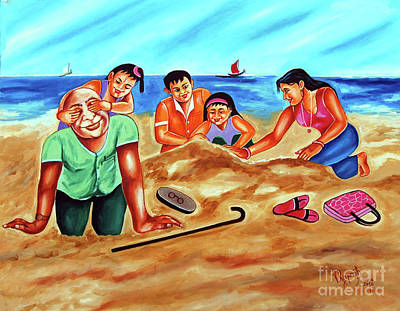 Painting - Happy Family by Ragunath Venkatraman