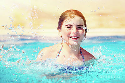 Photograph - Happy Girl In The Pool by Anna Om