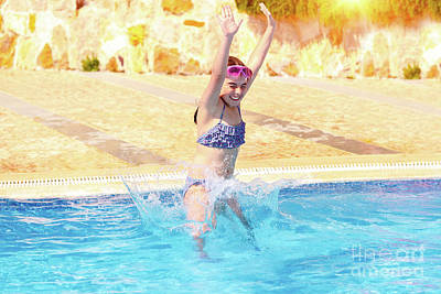 Photograph - Happy Girl Jumping To The Pool by Anna Om