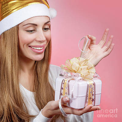Photograph - Happy Girl With Christmas Gift by Anna Om