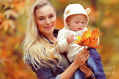 Photograph - Happy Mother With Baby In Autumn Park by Anna Om
