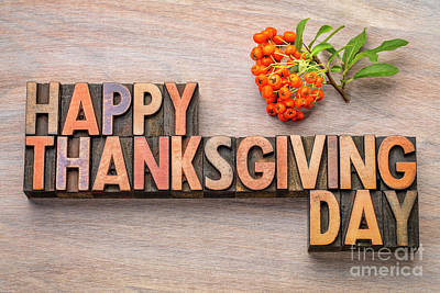 Photograph - Happy Thanksgiving Day In Wood Type by Marek Uliasz
