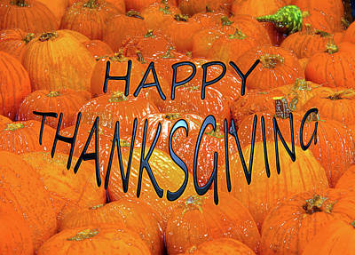 Happy Thanksgiving Pumpkins Print by David Lee Thompson