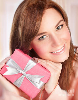 Photograph - Happy Woman With Gift Box by Anna Om