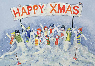 Christmas Greeting Painting - Happy Xmas by David Cooke