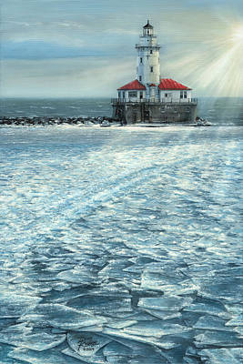 Painting - Harbor Light by Doug Kreuger