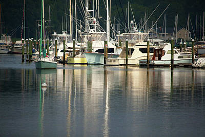 Boats In Reflecting Water Photograph - Harbor Reflections by Karol Livote