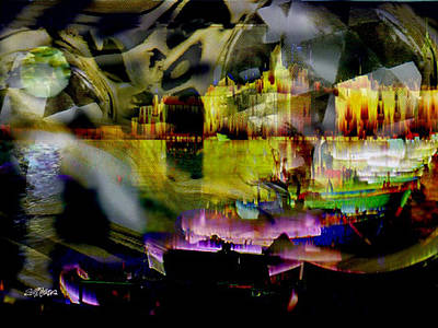 Digital Art - Harbor Scene Through A Vodka Bottle by Seth Weaver