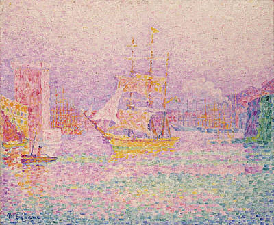 Pointilist Painting - Harbour At Marseilles by Paul Signac