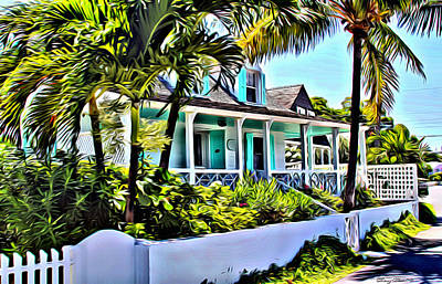 Bamboo Fence Digital Art - Harbour Island Home by Anthony C Chen