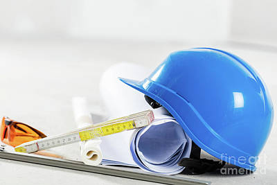 Industry Photograph - Hard Hat, Glasses And Blueprints At Construction Site. by Michal Bednarek