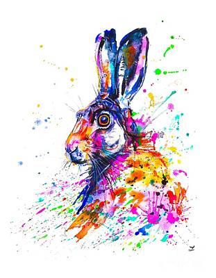 Painting - Hare In Grass by Zaira Dzhaubaeva
