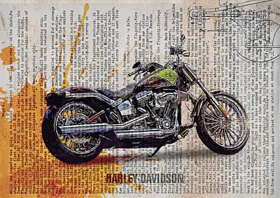 Vehicle Digital Art - Harley Davidson Cvo Breakout Softail by Yurdaer Bes