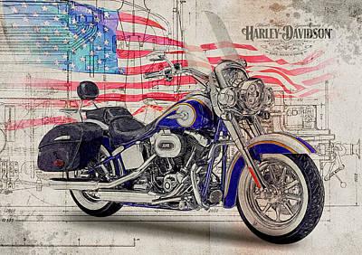 Harley Davidson Flstnse Cvo Softail Deluxe Art Print