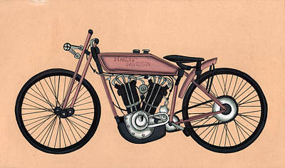 Antique Miniature Painting - Harley - Davidson Old Byke Antique Vintage, Artwork India, Miniature Painting, Watercolor Painting. by A K Mundra