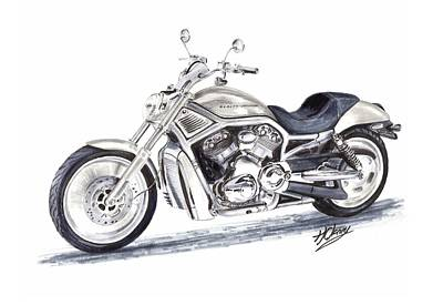 Harley Davidson V-rod Original by Terence John Cleary