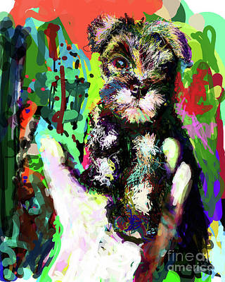 Miniature Schnauzer Puppy Digital Art - Harley In Hand by James Thomas
