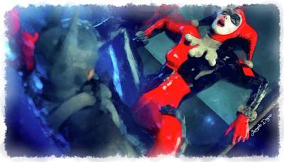 Costume Painting - Harley Quinn Fighting Batman - Aquarell Style by Leonardo Digenio