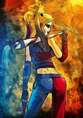 Pistol Digital Art - Harley Quinn Spicy - Van Gogh Style by Leonardo Digenio