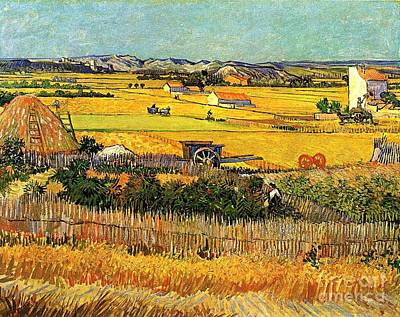 Arles Painting - Harvest At La Crau, With Montmajour In The Background by Vincent Van Gogh