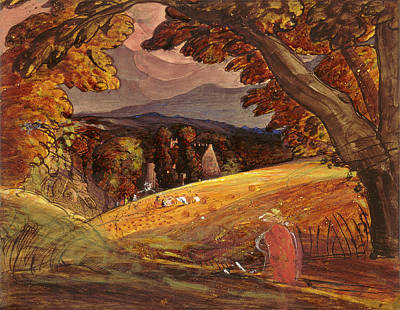 Painting -  Harvesters By Firelight by Samuel Palmer