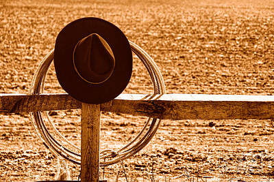 Photograph - Hat And Lasso On Fence - Sepia by Olivier Le Queinec