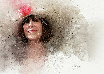 Digital Art - Hat With Rose by Peggy Cooper