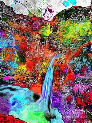 Grand Canyon Mixed Media - Havasu Falls Grunge by Daniel Janda