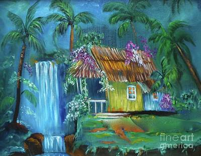 Painting - Hawaiian Hut And Waterfalls by Jenny Lee