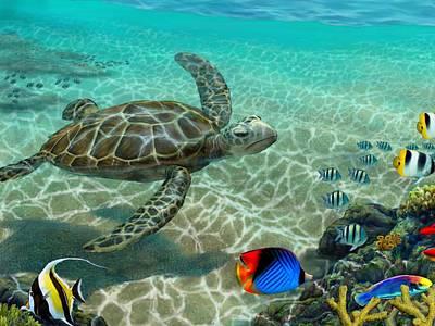 Hawaiian Fish Digital Art - Hawaiian Sea Turtle by Stephen Jorgensen