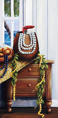 Art Medium Painting - Hawaiian Still Life Panel by Sandra Blazel - Printscapes