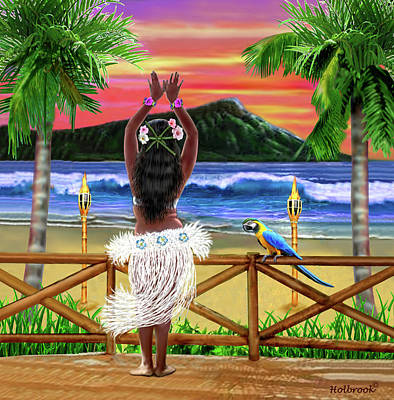 Digital Art - Hawaiian Sunset Hula by Glenn Holbrook