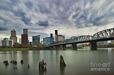 Photograph - Hawthorne Bridge Across The Willamette Portland Oregon  by Peter Dang