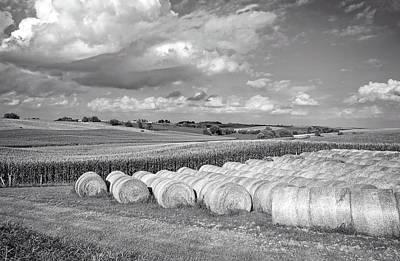 Cornfield Photograph - Hay And Corn In Iowa by Mountain Dreams