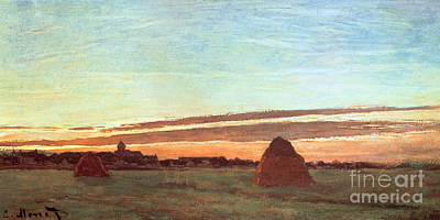 Morn Painting - Haystacks At Chailly by Claude Monet