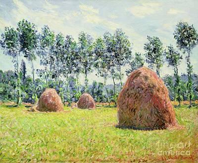 Haystacks At Giverny Art Print by Claude Monet