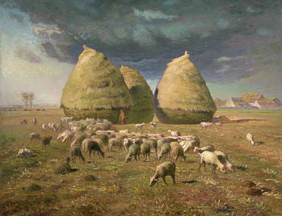 Sheep Painting - Haystacks, Autumn by Jean-Francois Millet