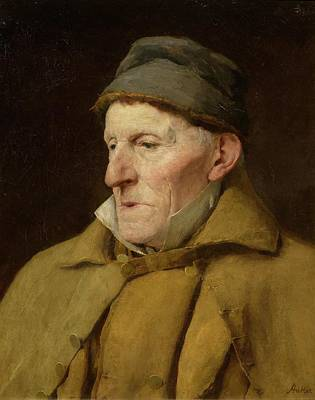 Old Man Painting - Head And Shoulders Portrait Of An Old Farmer by Albert