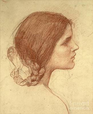 Faces Drawing - Head Of A Girl by John William Waterhouse