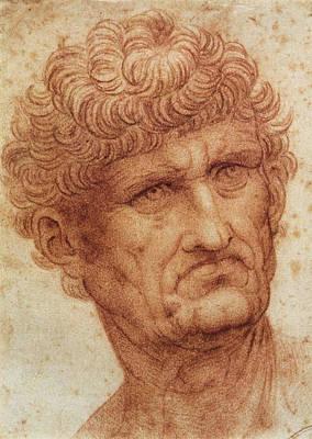 Closeup Drawing - Head Of A Man by Leonardo da Vinci