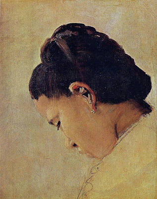 Pointilist Painting - Head Of A Young Girl by Georges Seurat
