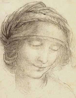 Closeups Drawing - Head Of Saint Anne by Leonardo da Vinci